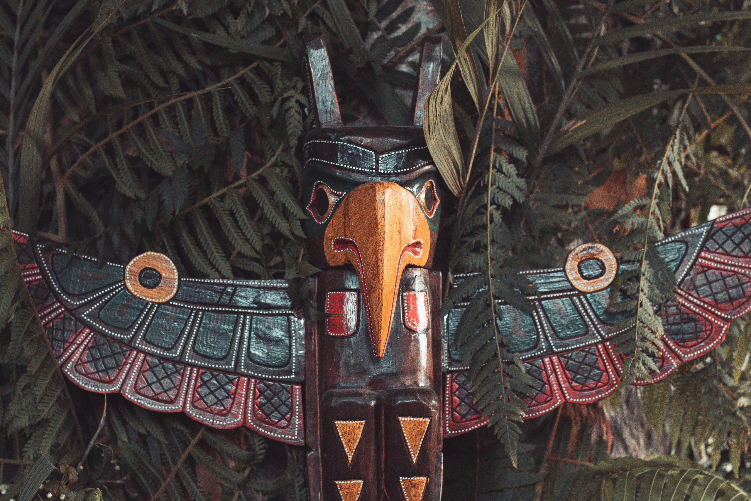 Eagle cresting totem pole